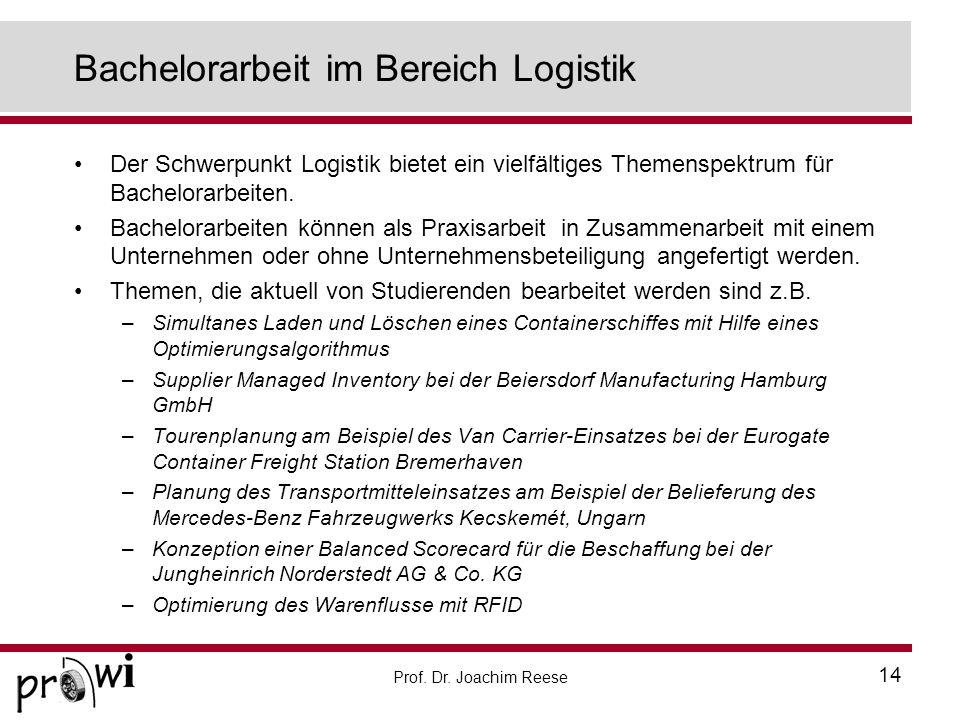 Bachelorarbeit im Bereich Logistik