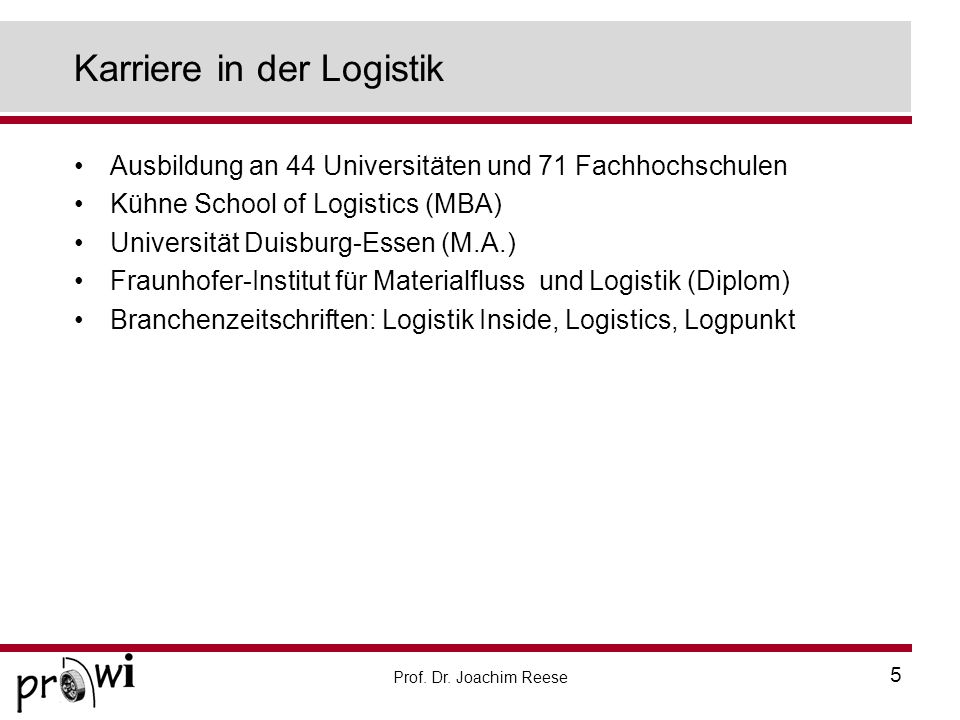 Karriere in der Logistik