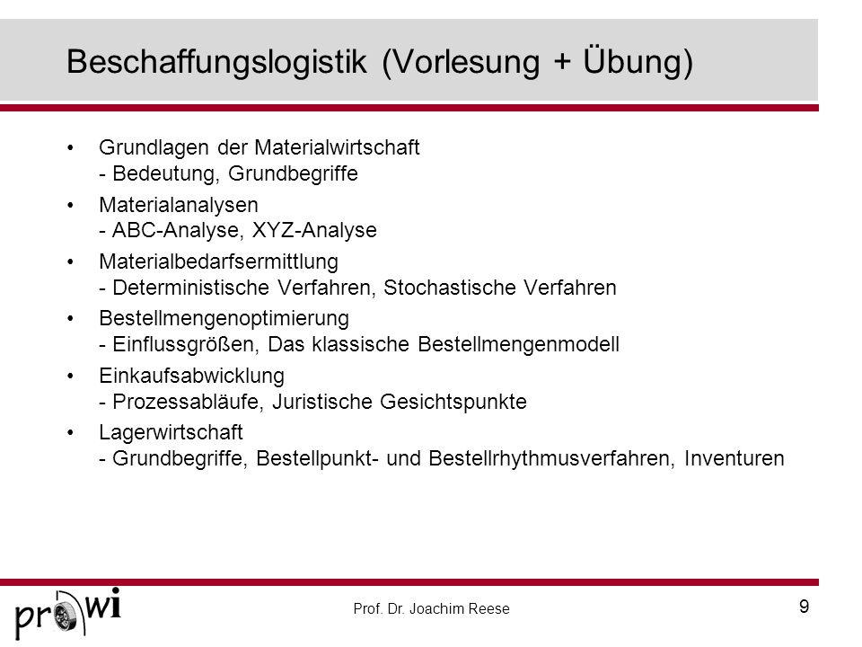 Beschaffungslogistik (Vorlesung + Übung)