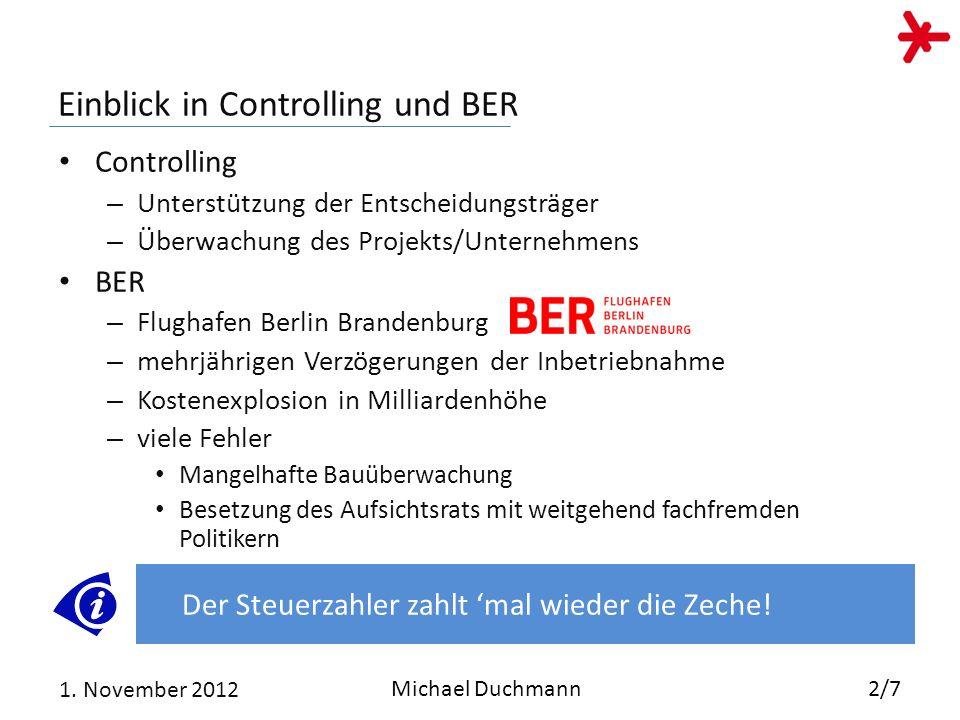 Einblick in Controlling und BER