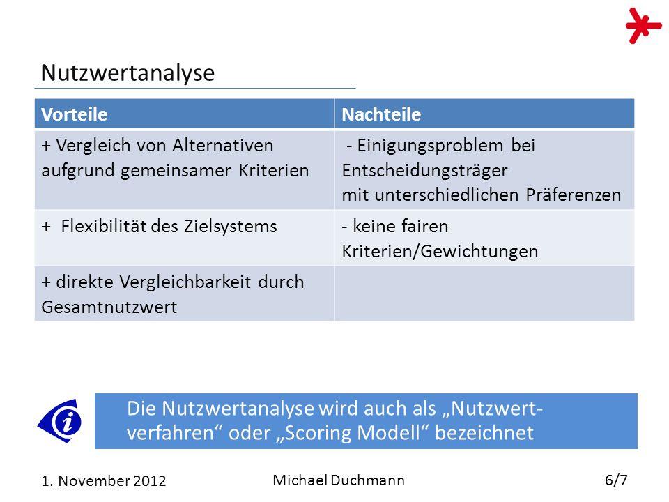 28.03.2017 Nutzwertanalyse. Vorteile. Nachteile. + Vergleich von Alternativen aufgrund gemeinsamer Kriterien.