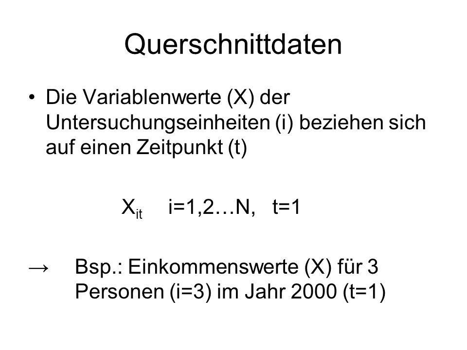 Querschnittdaten Die Variablenwerte (X) der Untersuchungseinheiten (i) beziehen sich auf einen Zeitpunkt (t)