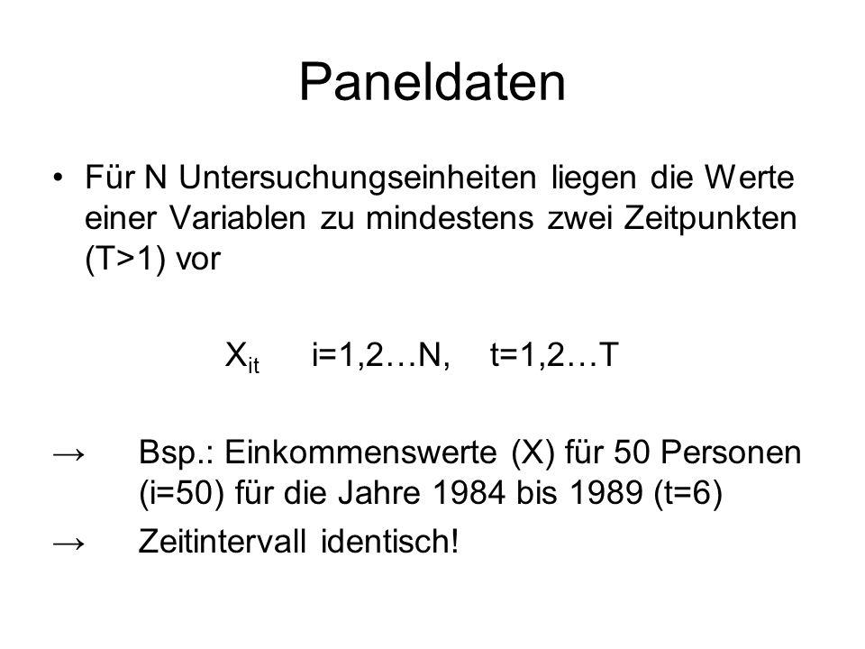 Paneldaten Für N Untersuchungseinheiten liegen die Werte einer Variablen zu mindestens zwei Zeitpunkten (T>1) vor.