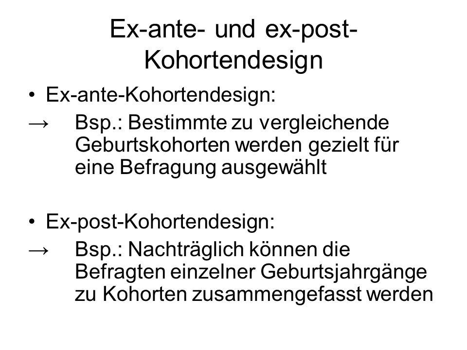 Ex-ante- und ex-post-Kohortendesign