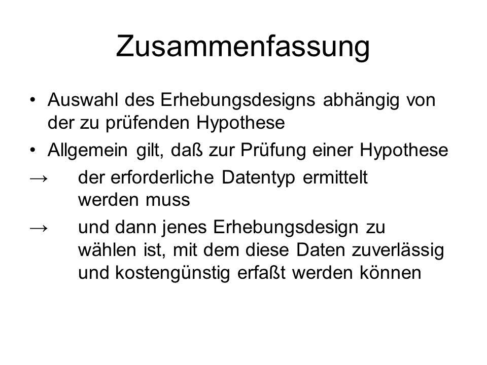 Zusammenfassung Auswahl des Erhebungsdesigns abhängig von der zu prüfenden Hypothese. Allgemein gilt, daß zur Prüfung einer Hypothese.