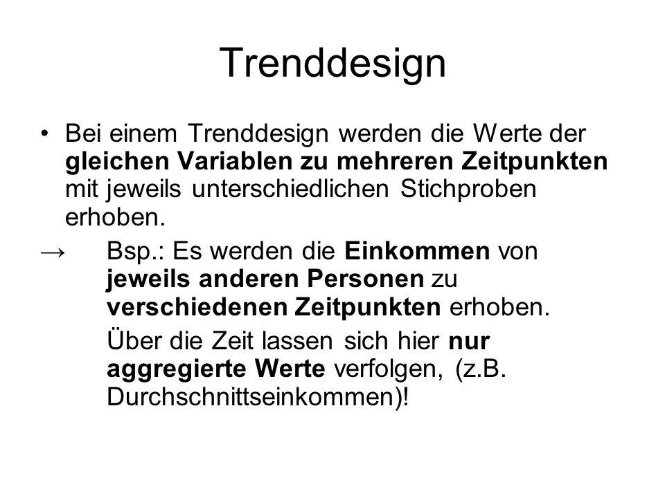 Trenddesign Bei einem Trenddesign werden die Werte der gleichen Variablen zu mehreren Zeitpunkten mit jeweils unterschiedlichen Stichproben erhoben.