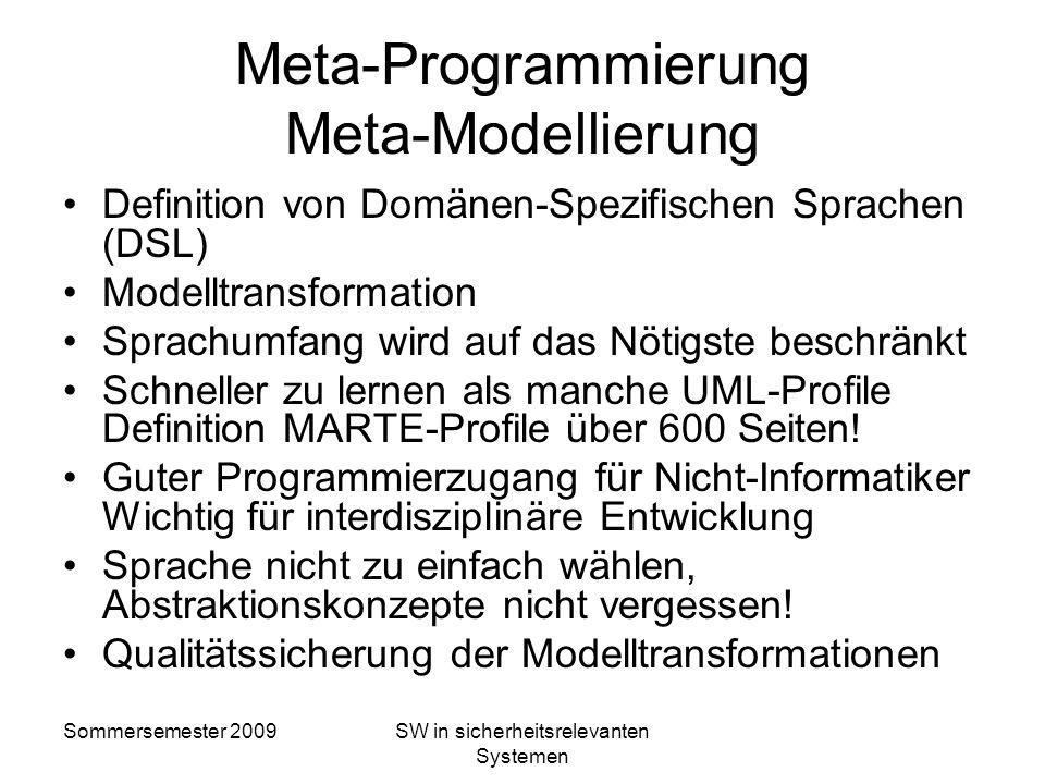Meta-Programmierung Meta-Modellierung