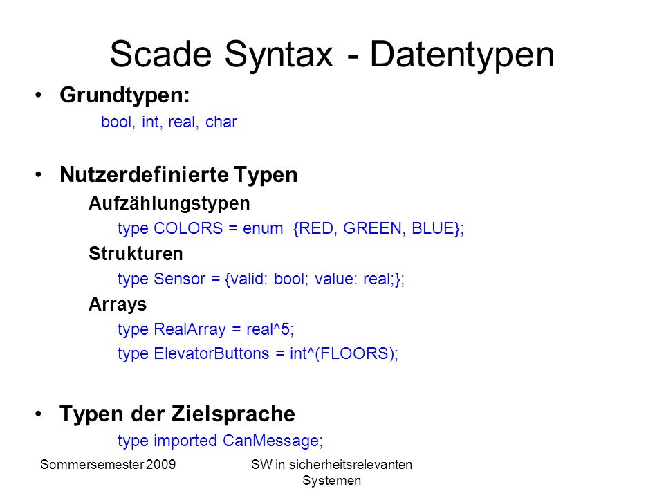 Scade Syntax - Datentypen