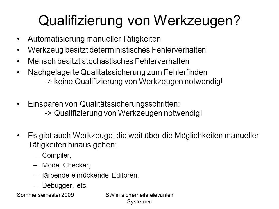 Qualifizierung von Werkzeugen