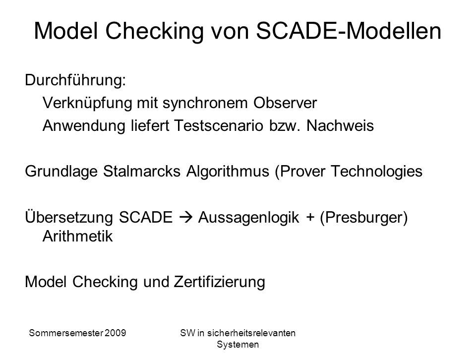 Model Checking von SCADE-Modellen