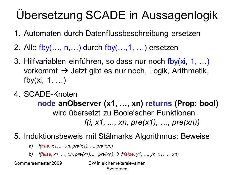 Übersetzung SCADE in Aussagenlogik