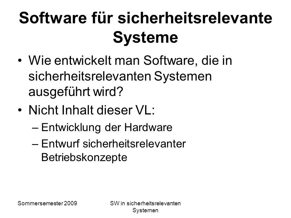 Software für sicherheitsrelevante Systeme