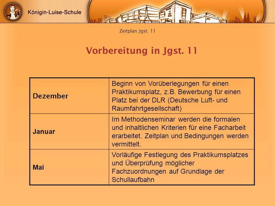 Vorbereitung in Jgst. 11 Dezember