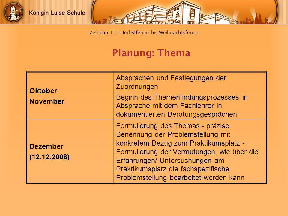 Zeitplan 12.I Herbstferien bis Weihnachtsferien