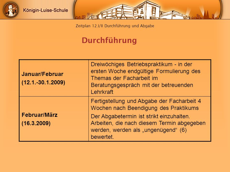 Zeitplan 12.I/II Durchführung und Abgabe