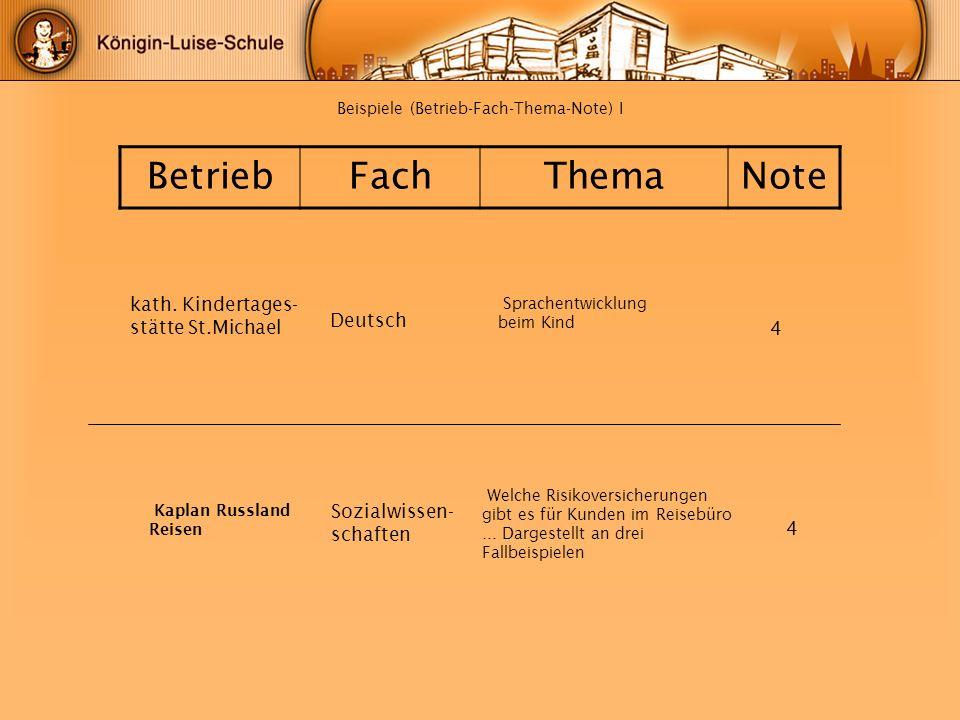 Beispiele (Betrieb-Fach-Thema-Note) I