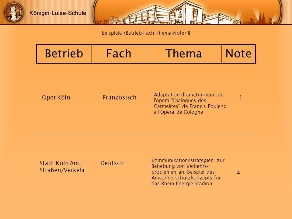 Beispiele (Betrieb-Fach-Thema-Note) II