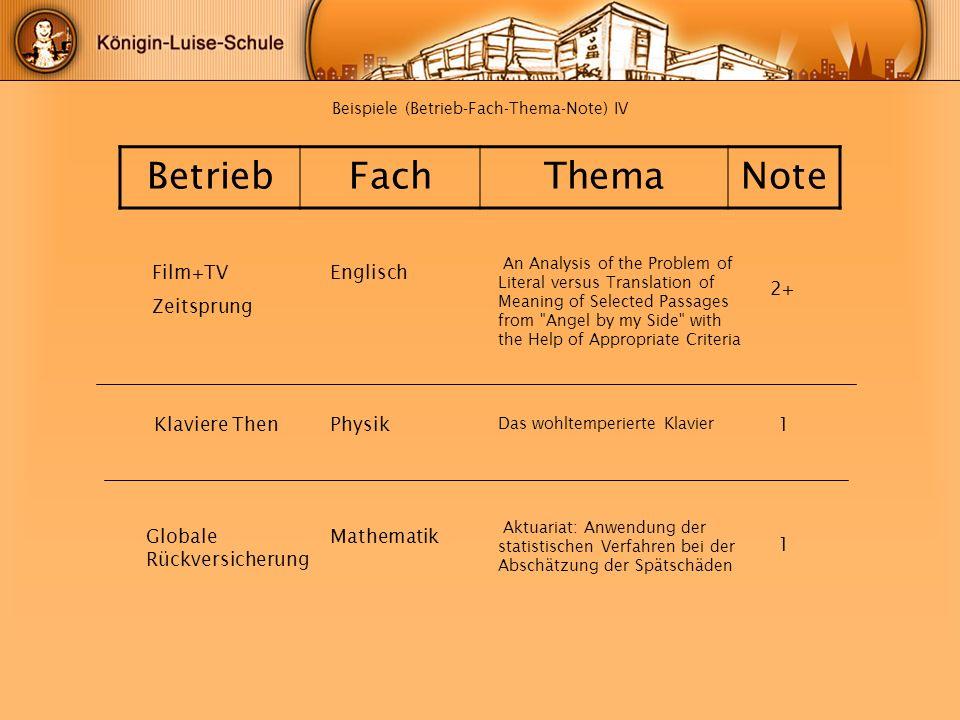 Beispiele (Betrieb-Fach-Thema-Note) IV