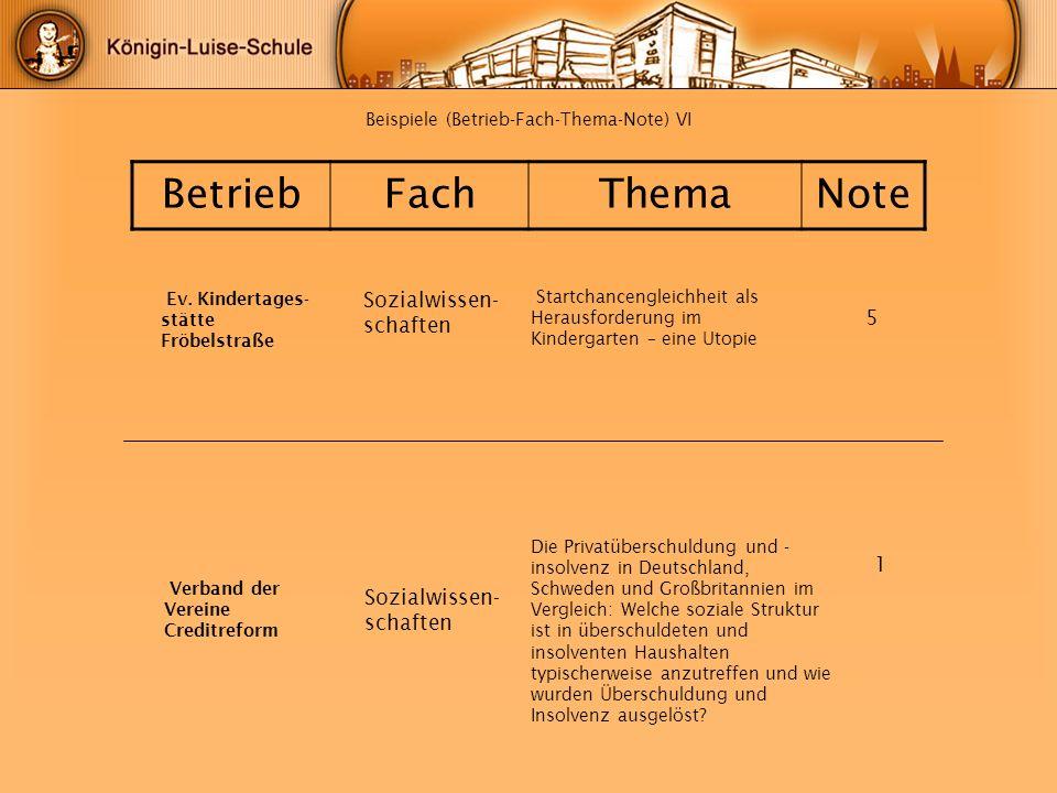 Beispiele (Betrieb-Fach-Thema-Note) VI