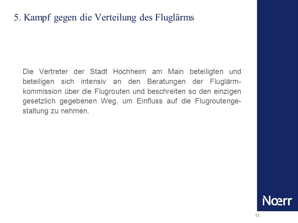 5. Kampf gegen die Verteilung des Fluglärms