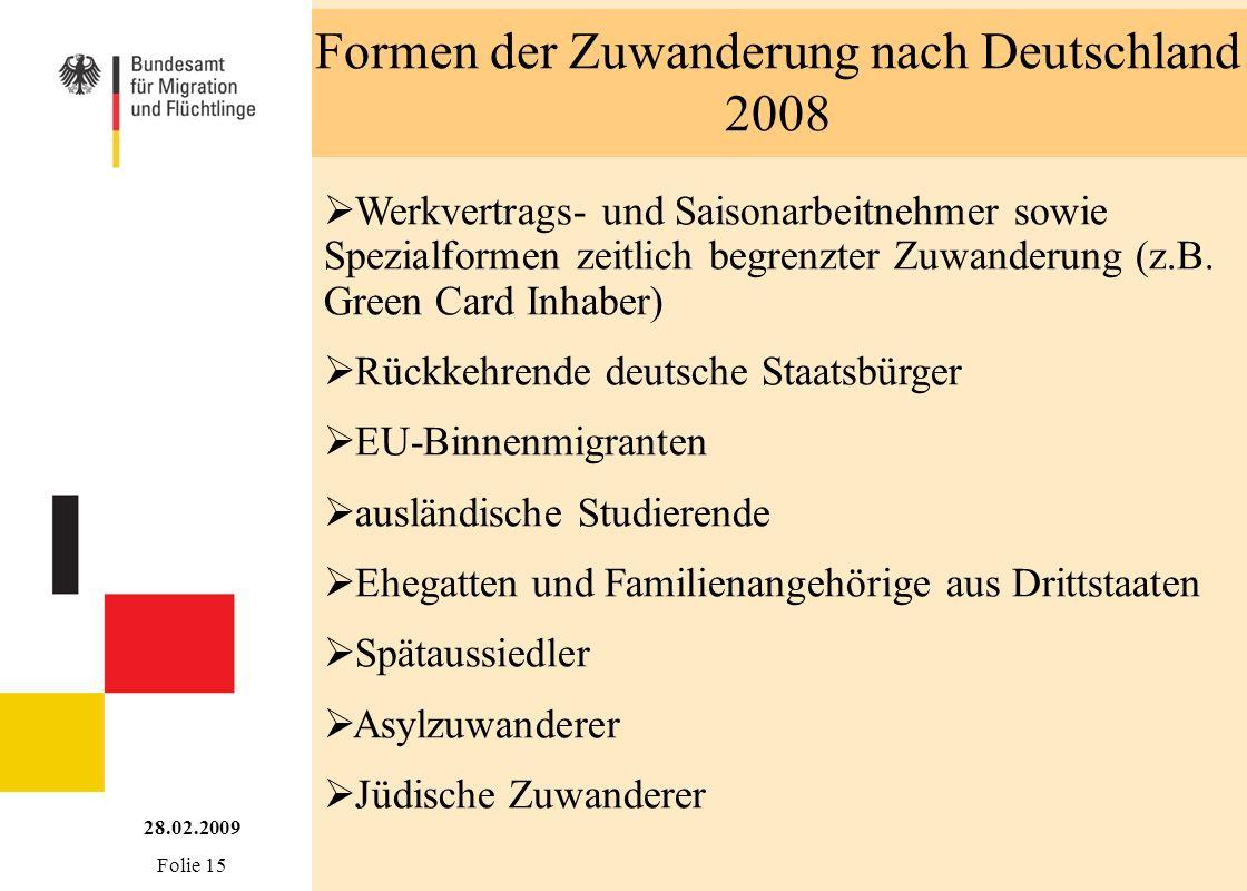 Formen der Zuwanderung nach Deutschland 2008
