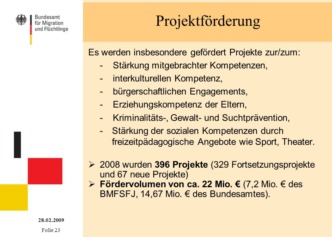 Projektförderung Es werden insbesondere gefördert Projekte zur/zum: