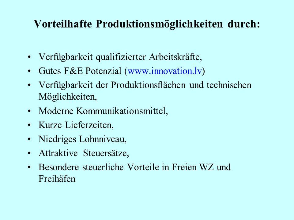 Vorteilhafte Produktionsmöglichkeiten durch:
