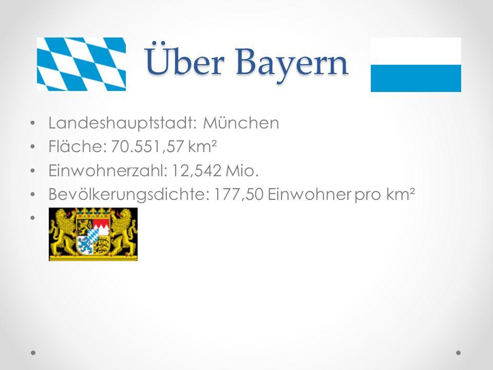 Über Bayern Landeshauptstadt: München Fläche: 70.551,57 km²