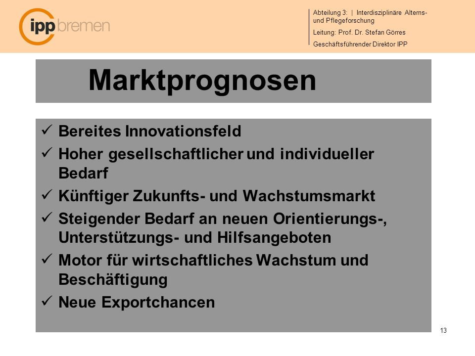 Marktprognosen Bereites Innovationsfeld