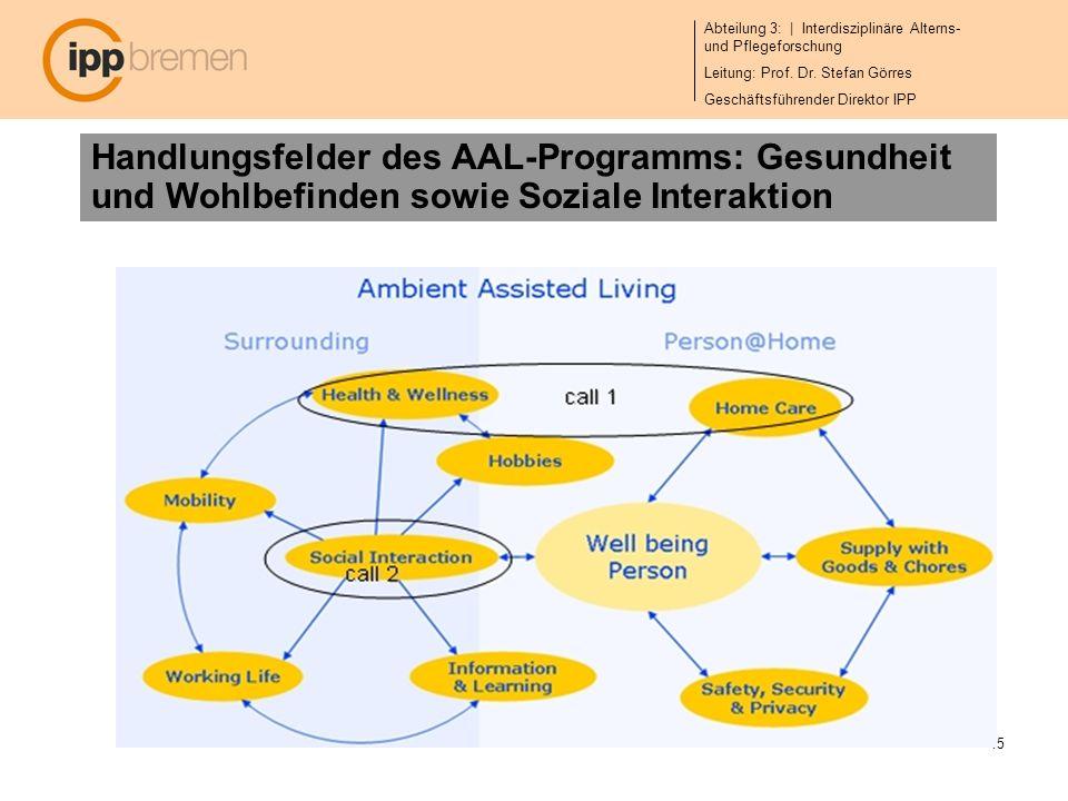 Handlungsfelder des AAL-Programms: Gesundheit und Wohlbefinden sowie Soziale Interaktion