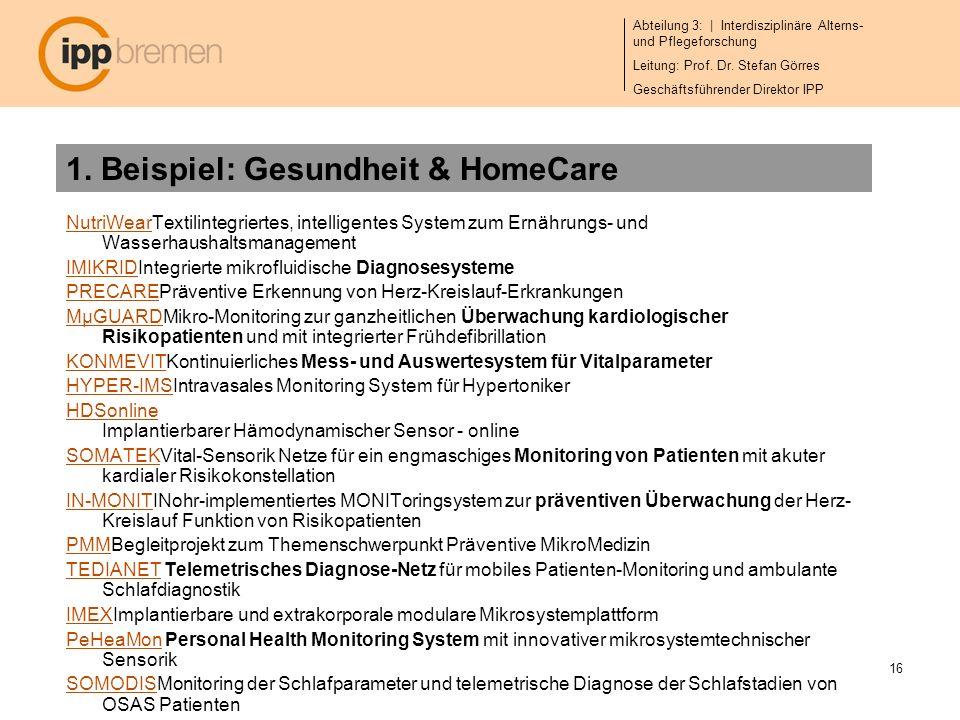 1. Beispiel: Gesundheit & HomeCare