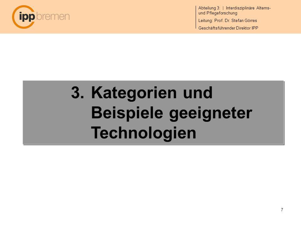 Kategorien und Beispiele geeigneter Technologien