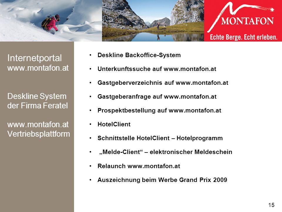 Internetportal www. montafon. at Deskline System der Firma Feratel www