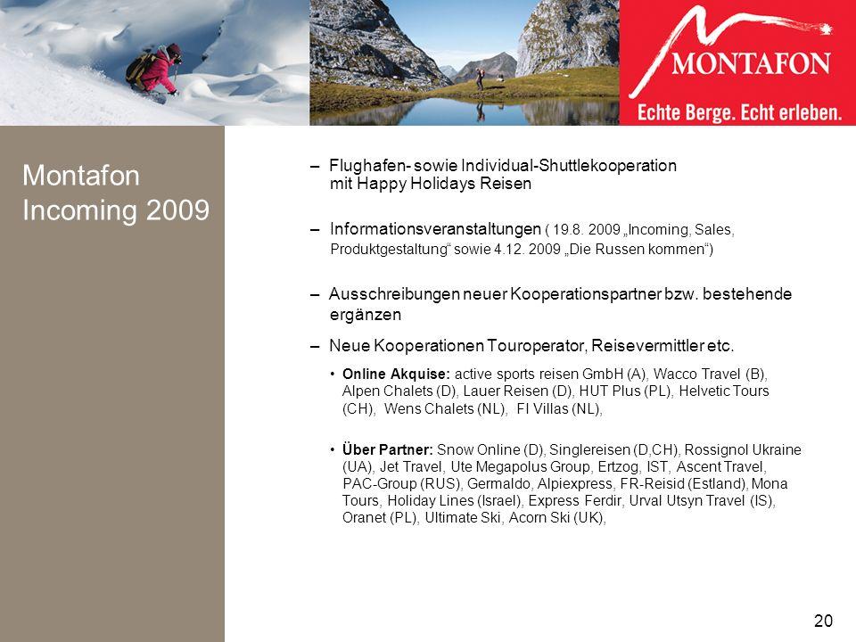 Montafon Incoming 2009 Flughafen- sowie Individual-Shuttlekooperation mit Happy Holidays Reisen.