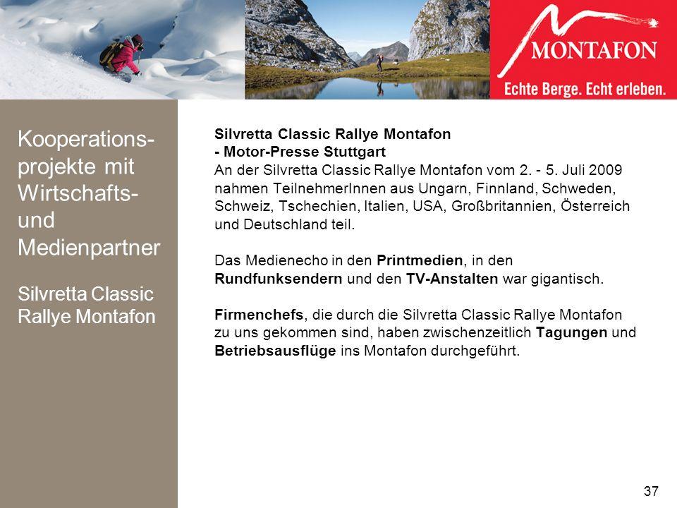 Kooperations-projekte mit Wirtschafts- und Medienpartner Silvretta Classic Rallye Montafon