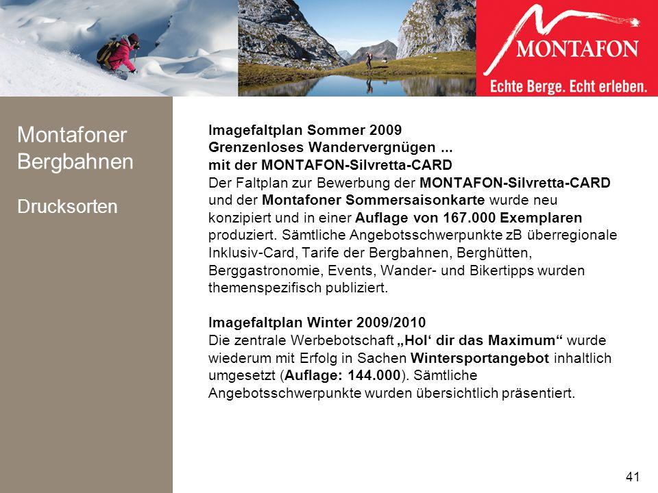 Montafoner Bergbahnen Drucksorten