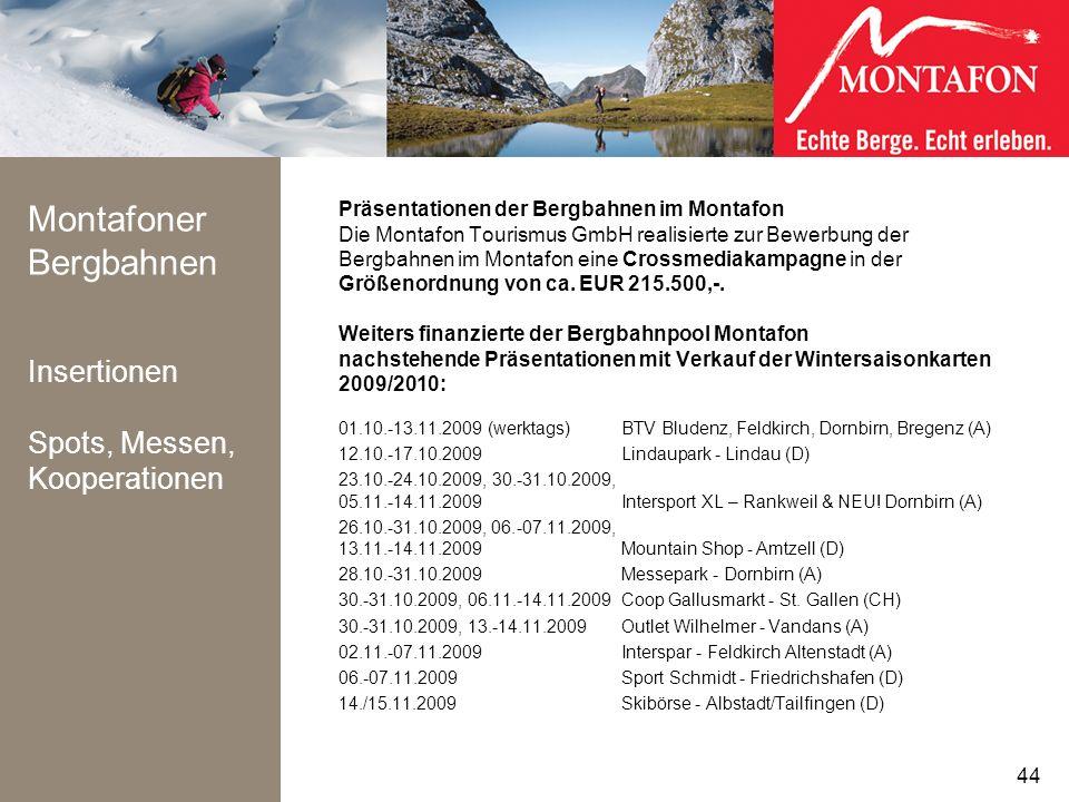 Montafoner Bergbahnen Insertionen Spots, Messen, Kooperationen