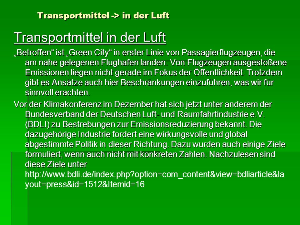 Transportmittel -> in der Luft
