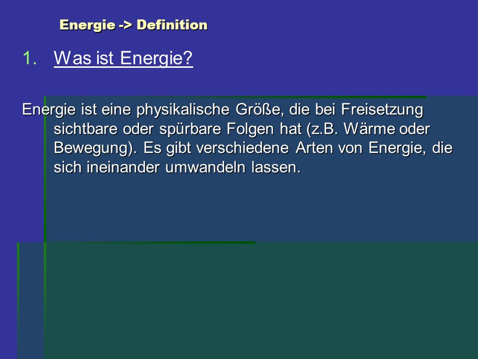 Energie -> Definition