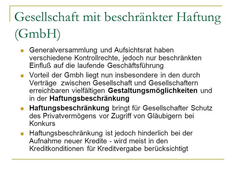 Gesellschaft mit beschränkter Haftung (GmbH)