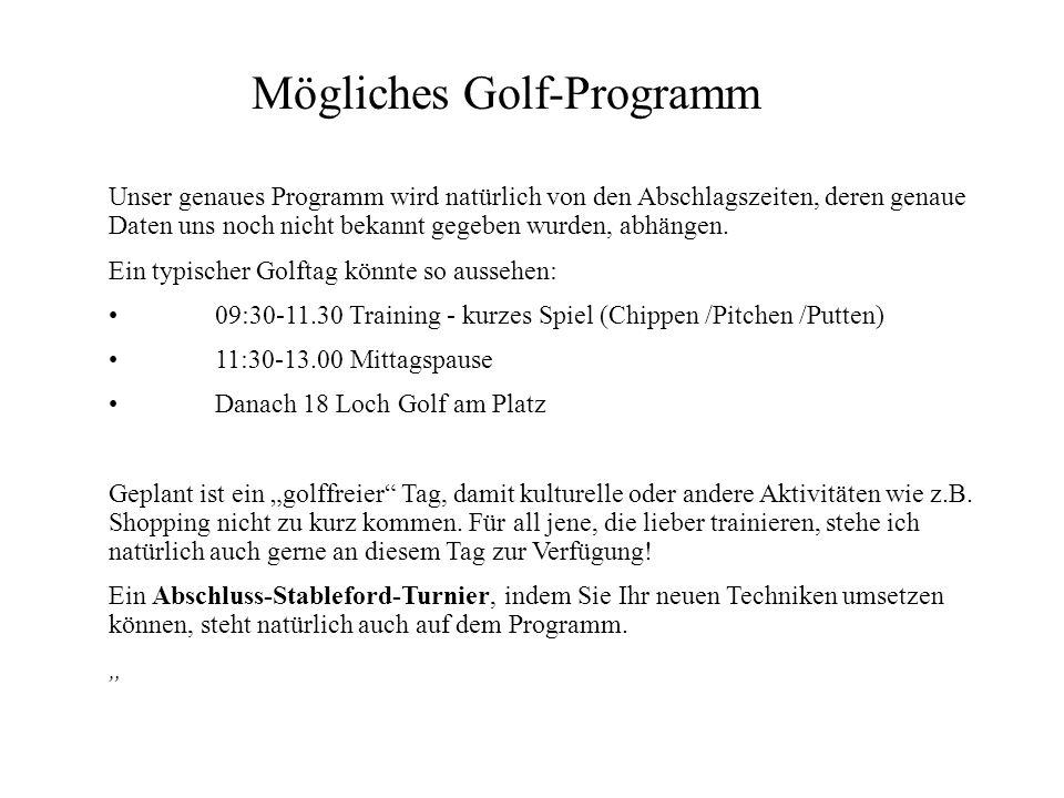 Mögliches Golf-Programm