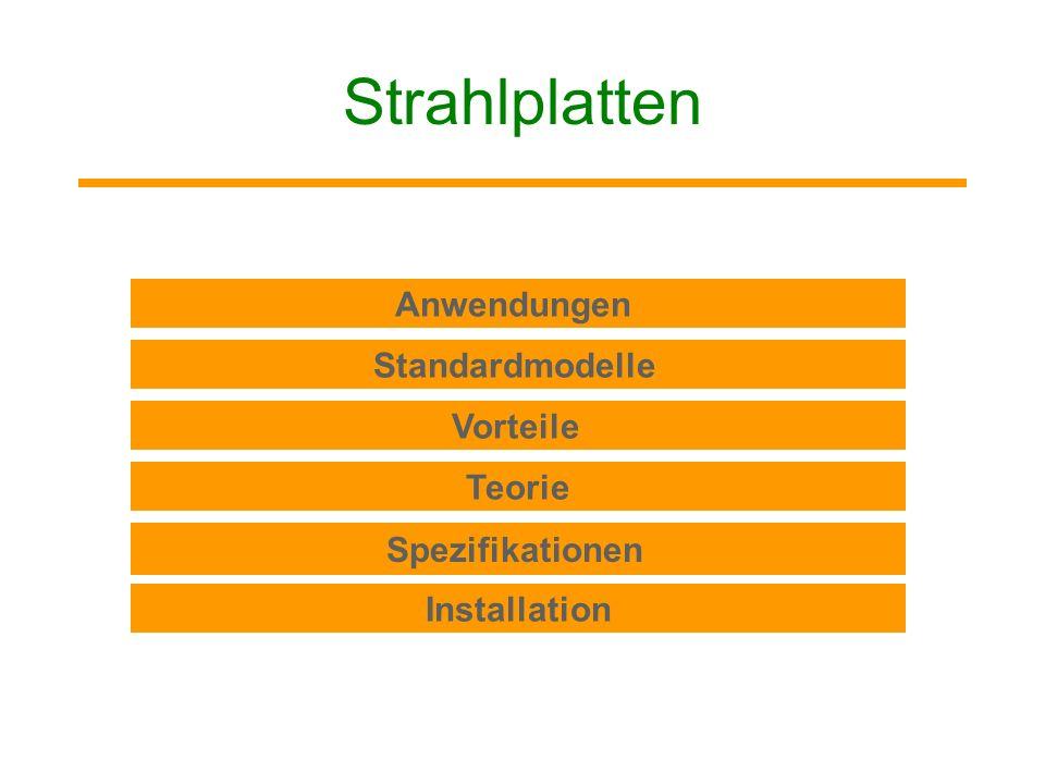 Strahlplatten Anwendungen Standardmodelle Vorteile Teorie