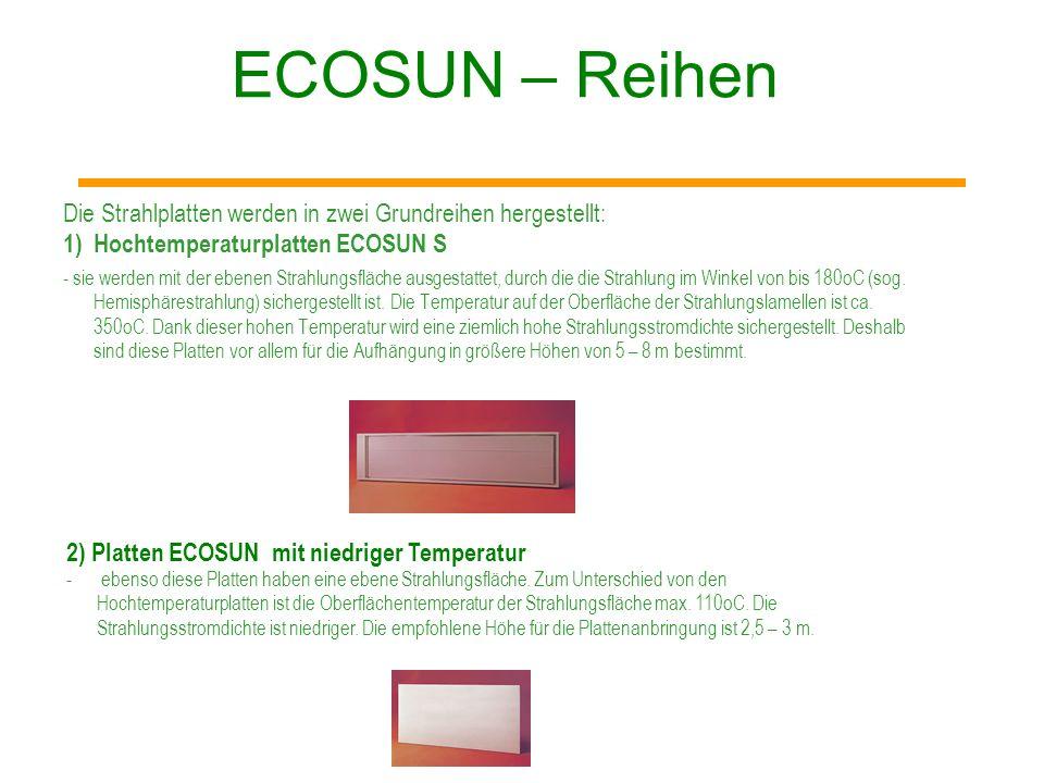 ECOSUN – Reihen Die Strahlplatten werden in zwei Grundreihen hergestellt: Hochtemperaturplatten ECOSUN S.