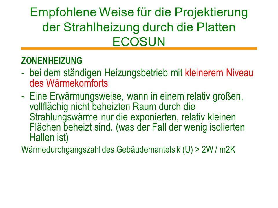 Empfohlene Weise für die Projektierung der Strahlheizung durch die Platten ECOSUN