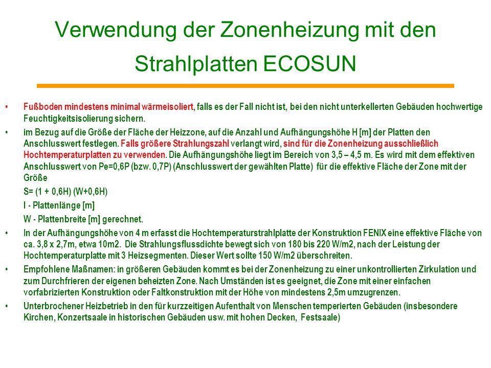 Verwendung der Zonenheizung mit den Strahlplatten ECOSUN