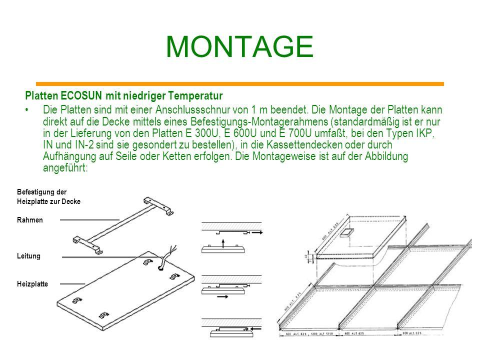 MONTAGE Platten ECOSUN mit niedriger Temperatur