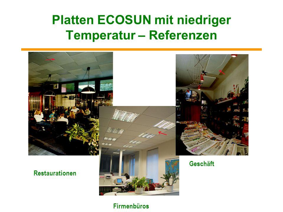 Platten ECOSUN mit niedriger Temperatur – Referenzen