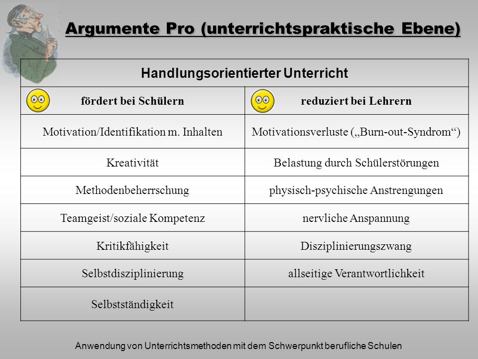 Argumente Pro (unterrichtspraktische Ebene)