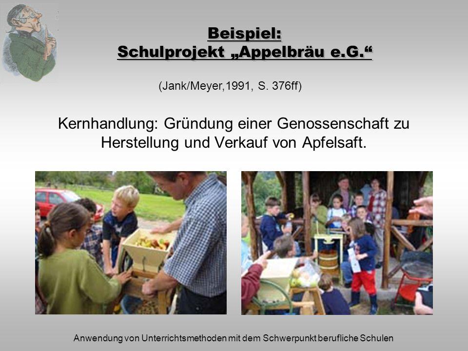 "Beispiel: Schulprojekt ""Appelbräu e.G."