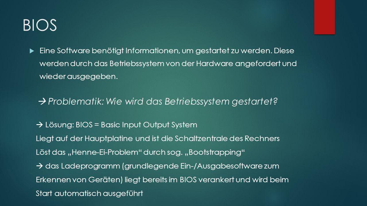 BIOS  Problematik: Wie wird das Betriebssystem gestartet